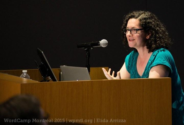 Kathryn Presner speaking at WordCamp Montreal.