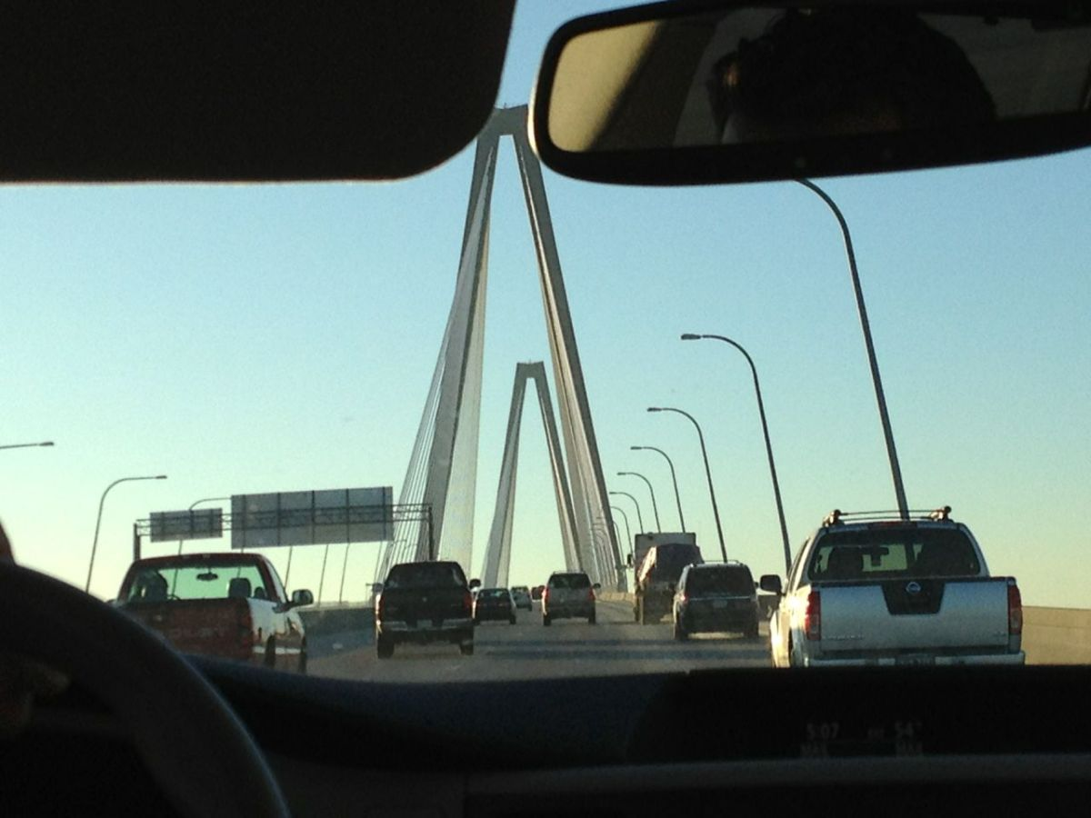Finally going over the bridge to Charleston!