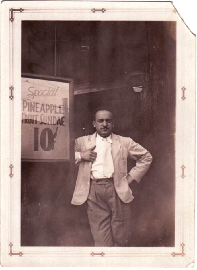 Shia Presner in front of his drugstore - pineapple sundae 10 cents