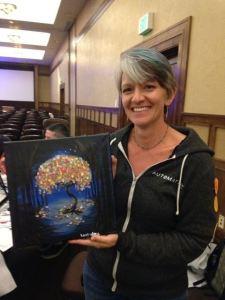Karen with her canvas