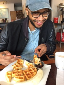 Allan with waffle