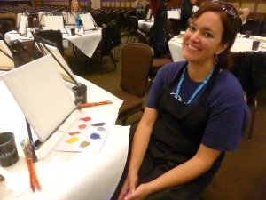 Andrea with canvas at Grand Meetup