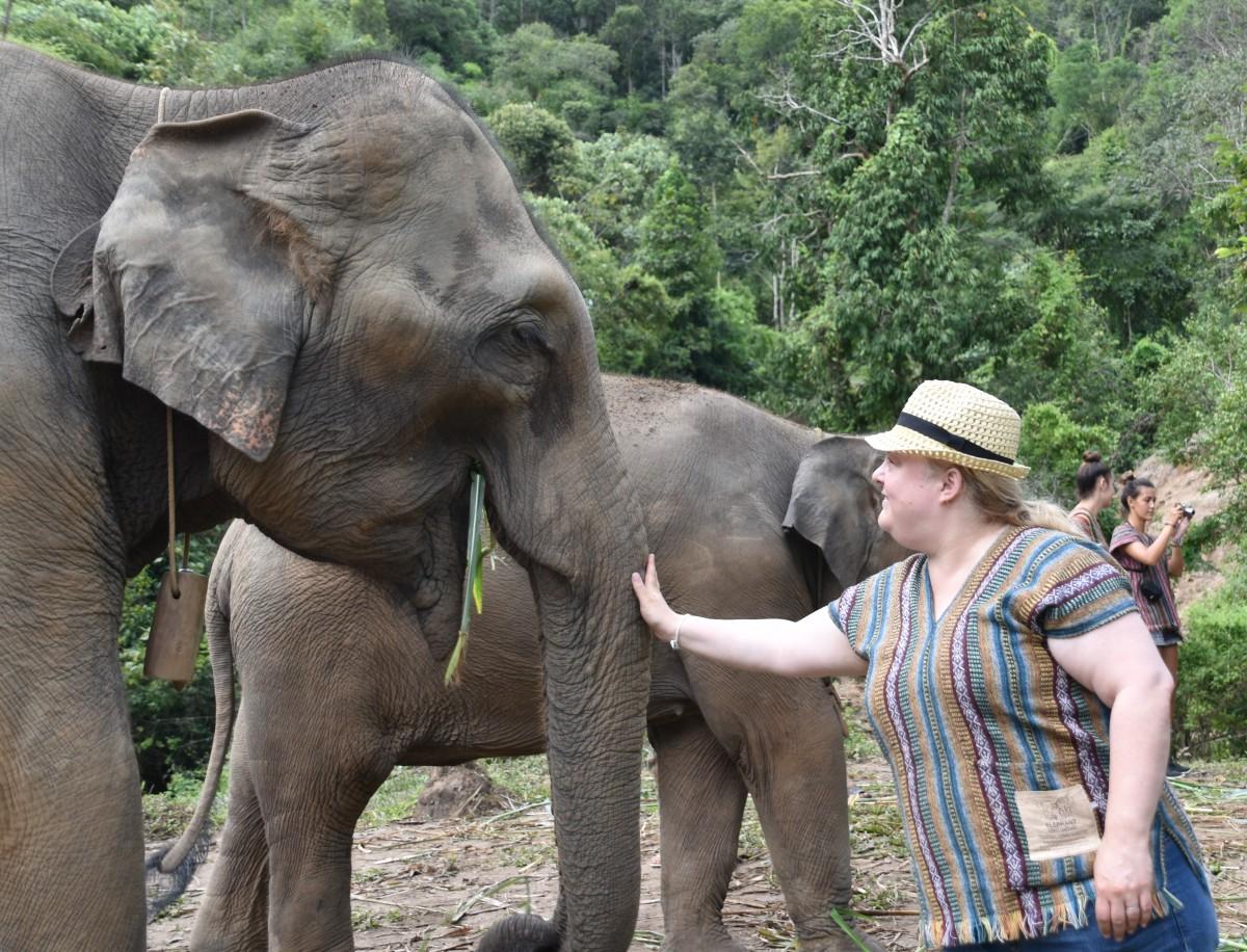 Alex with elephant
