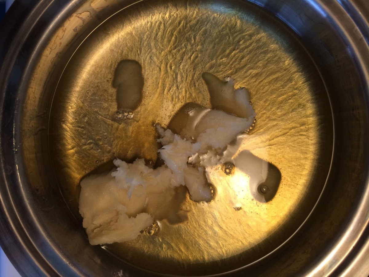 melting shea butter and coconut oil