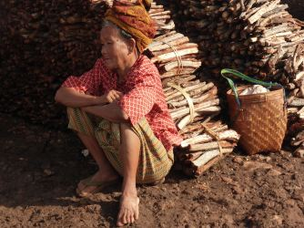 woman sitting near firewood for sale