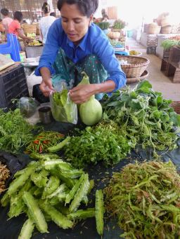market woman with vegetables