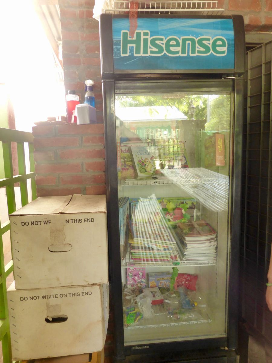 More books in old commercial fridge
