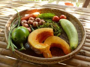 fresh vegetables in wood bowl