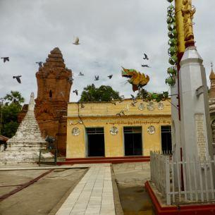Bagan - Pagoda with birds flying