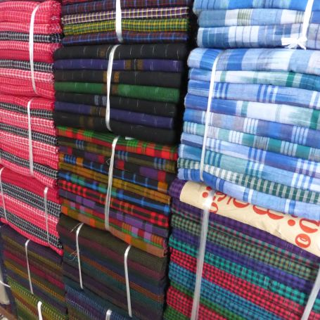 Stacks of colourful fabric