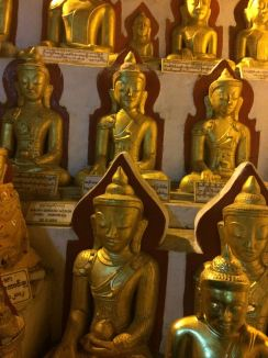 rows of golden Buddhas