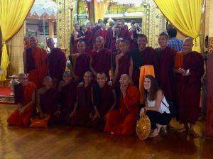 monks with tourist