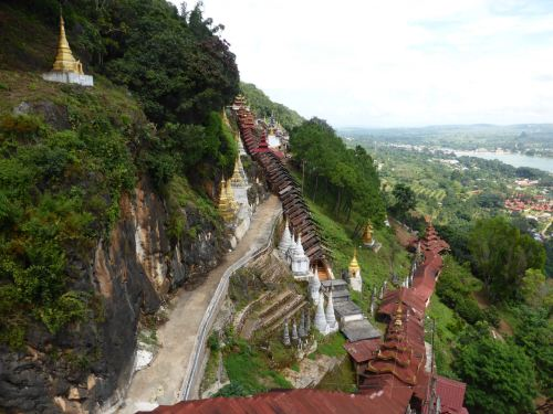 Pindaya cave - high angle scenic shot of surrounding hills