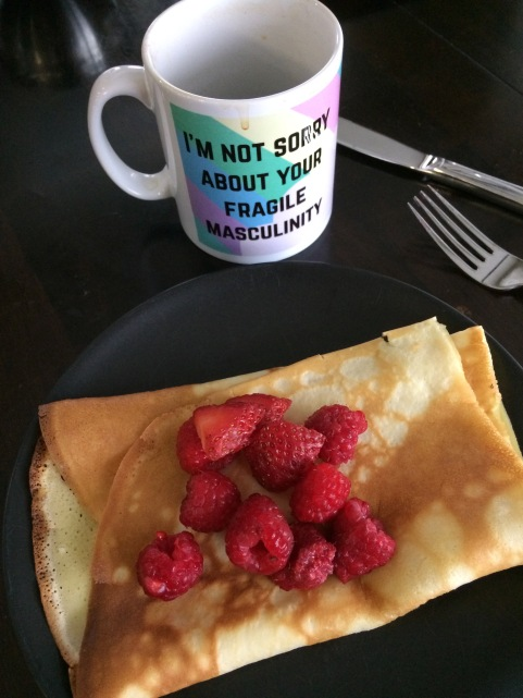 "mug: ""I'm not sorry about your fragile masculinity"" - with raspberry crepes"