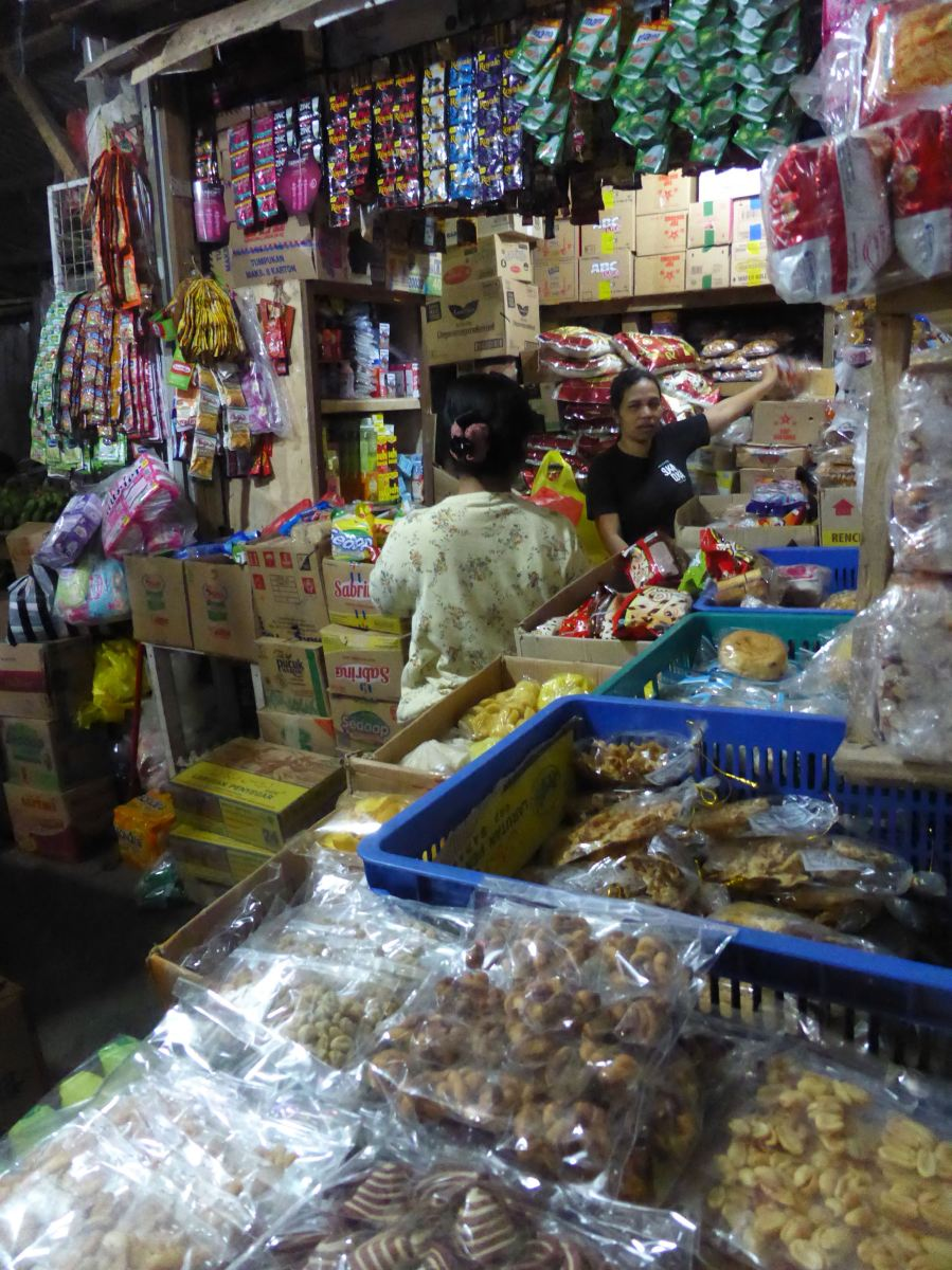 lots of goods in market stall