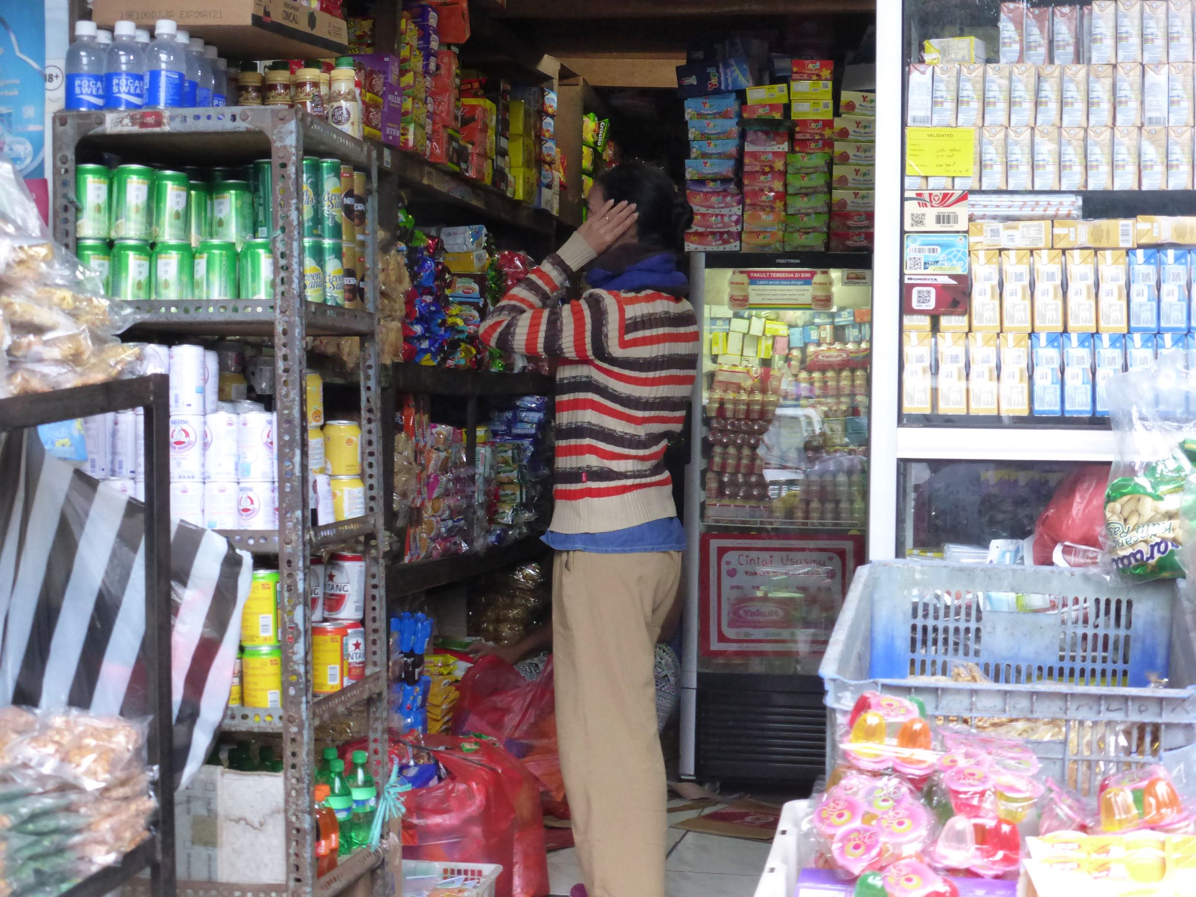 woman looking at goods on shelves