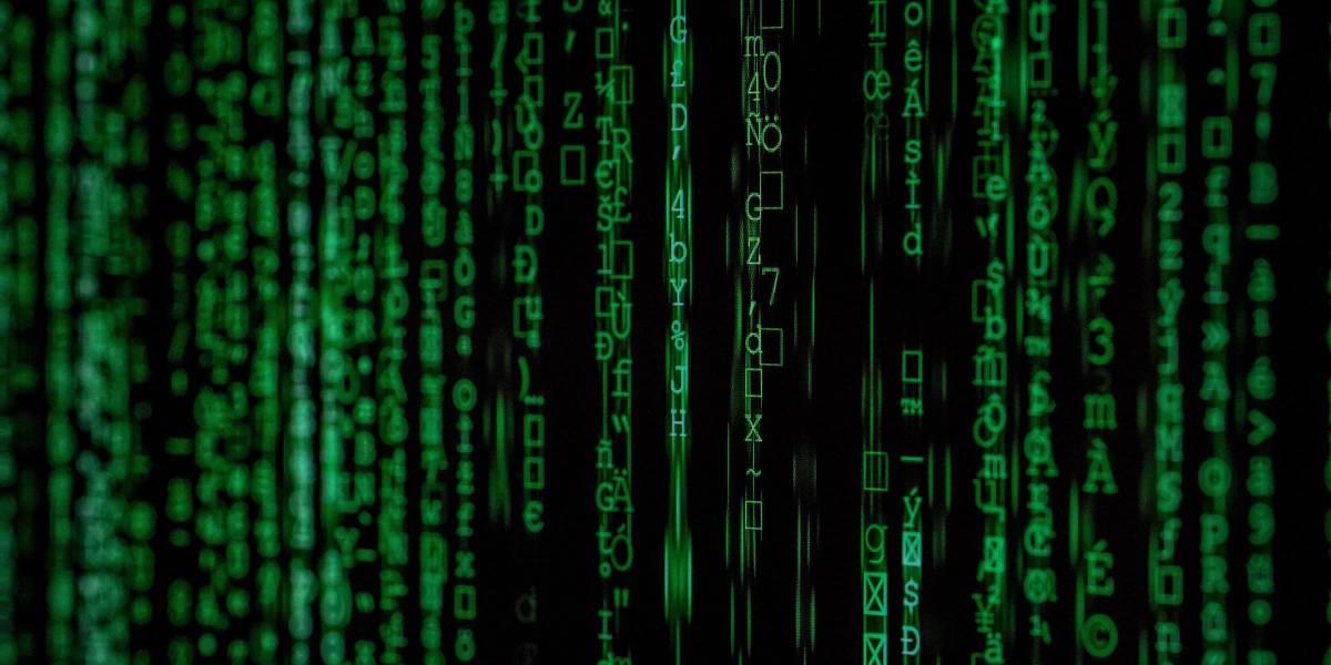 Matrix-like green vertical text on black computer screen